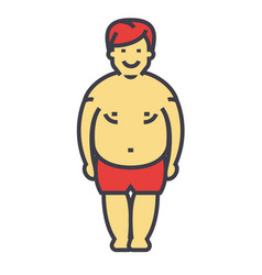 fat man before diet and fitness concept line vector image