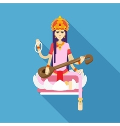 Hindu Goddess Saraswati flat vector image
