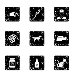 Veterinary things icons set grunge style vector