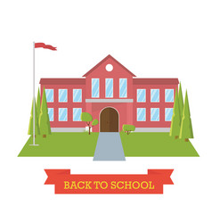 back to school concept school yard with trees and vector image