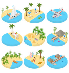 beach vacation set icons 3d isometric view vector image vector image