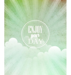 blue vintage grungy background with sun vector image