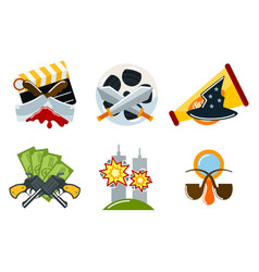 cinema genre icons set cinematography flat vector image