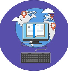 Distance education concept Flat design Icon in vector image
