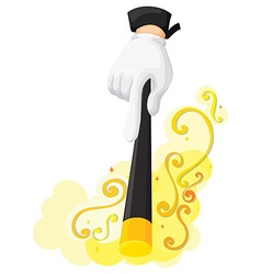 Hand holding magic wand vector image vector image