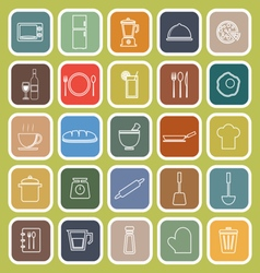 Kitchen line flat icons on green background vector image