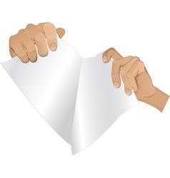 Man hands tear paper version 2 vector image