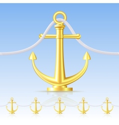 Seamless fence featuring an gold anchor vector image