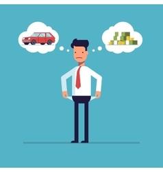 Businessman with no money bankrupt Man dreams of vector image