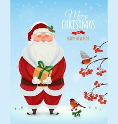 Christmas greeting card poster Funny Santa vector image