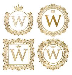 golden letter w vintage monograms set heraldic vector image