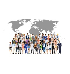 Group people world map vector image vector image