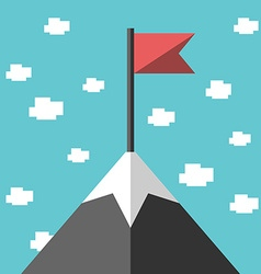 Mountain peak with flag vector image vector image