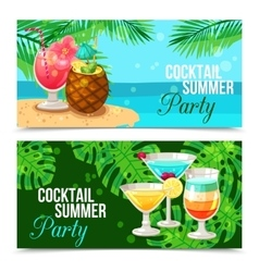Tropical Cocktails Horizontal Banners vector image vector image