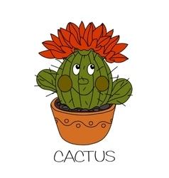 Cute cartoon cactus vector image