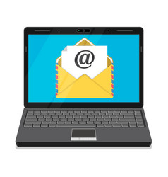 laptop with envelope and open email on screen vector image vector image
