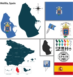 Map of Melilla vector image vector image