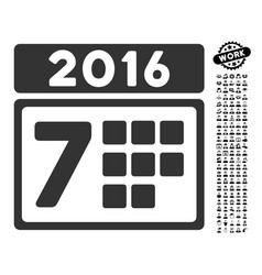 2016 week calendar icon with people bonus vector