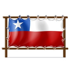 A wooden frame with the flag of Chile vector image