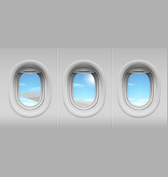 airplane portholes with sky and wing view vector image