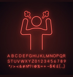 Angry person neon light icon vector