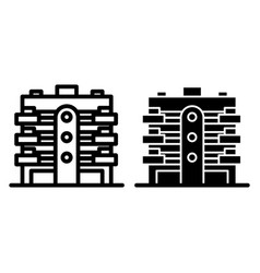 Apartment building line and glyph icon multistory vector