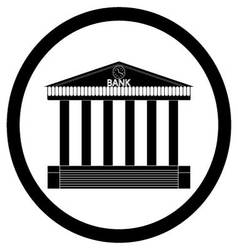 Bank building black silhouette icon vector