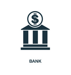 bank icon monochrome style design from city vector image