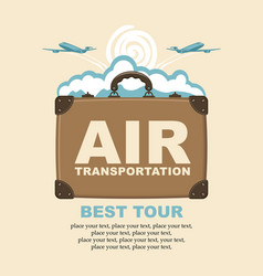 banner with planes suitcase and clouds vector image