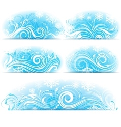 Banners of Stylized frosty ornament vector image