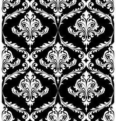 Black and white vintage damask pattern vector