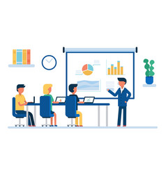 cartoon color characters people business meeting vector image