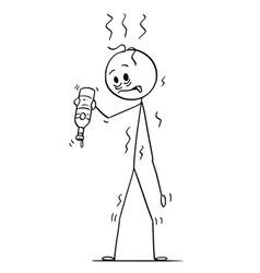 cartoon thirsty drunken man whose bottle of vector image