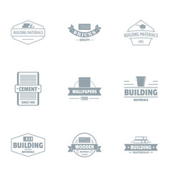 Cement mortar logo set simple style vector