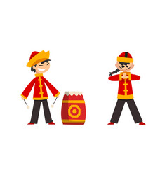 Chinese new year decoration elements set boys vector