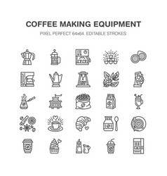 coffee making equipment flat line icons elements vector image