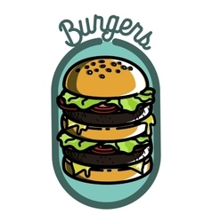 Color vintage fast food emblem vector image