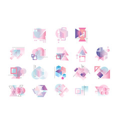 Colorful geometric logo set abstract elements vector