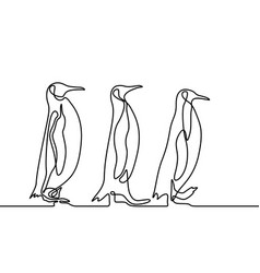 Continuous line drawing three penguins follow each vector