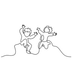 continuous one line drawing happy boys running vector image