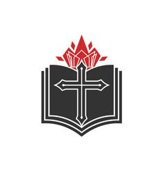 Cross lord jesus christ an open bible vector