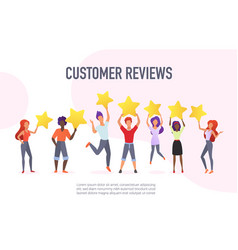 Customer reviews flat banner template vector