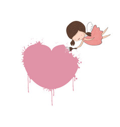 cute doodle of a girl angel painting a heart for vector image