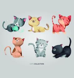 cute little cats set vector image