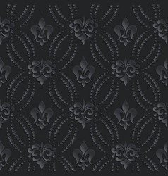 damask seamless pattern dark background elegant vector image