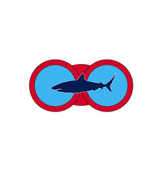 dark shark on the background of red binoculars vector image