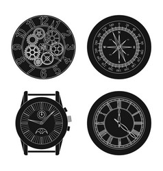 design of clock and time icon set of clock vector image