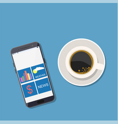 Device phone and hot coffee vector