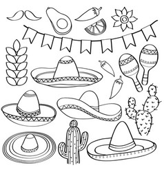 doodle mexico symbol collection isolated in black vector image