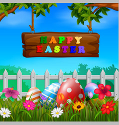 easter eggs at the fence with wood sign vector image